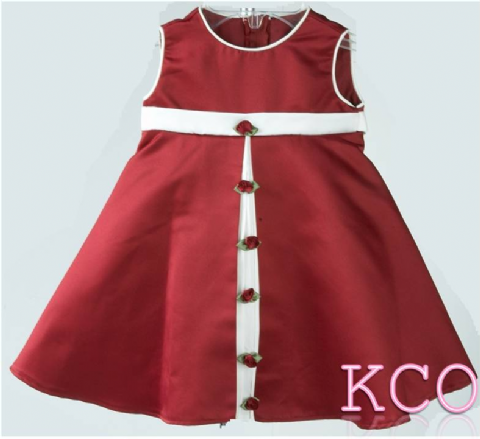 Front Pleat Dress Cream/Burgundy ~ girls dress